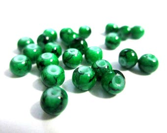 50 speckled Black 4mm dark green glass beads