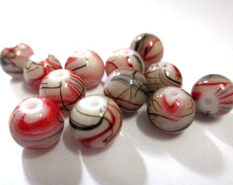 10 beads beige, red and Brown painted glass 8mm