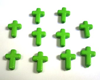 10 green acrylic cross 16 x 12 x 4 mm beads