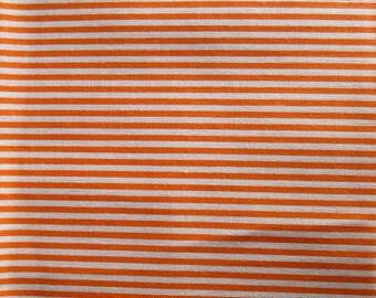 1 coupon of white fabric stripe orange 50x50cm 100% cotton