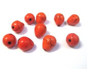 10 orange 10x8mm howlite drops beads