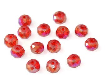 10 Red Crystal beads iridescent rondelle's faceted 6x8mm