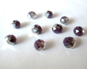 10 rondelle beads faceted imitation jade purple and silver glass 8x6mm imitation jade