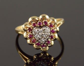 14k 0.50 CTW Ruby Diamond Heart Cluster Ring Gold