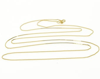 """14k 0.6mm Box Link Fancy Chain Necklace Gold 24.25"""""""