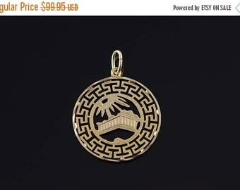 Big SALE 14k Greek Key Greece Athens Charm/Pendant Gold
