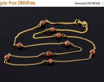 Big SALE 14k 4mm Gold Stone Beaded 1.2mm Curb Link Chain Necklace Gold 15.25""