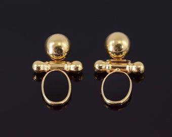 14k Black Onyx Oval Door Knocker Earrings Gold