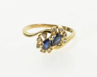 10k Pear Cut Sapphire Diamond Semi Halo Cluster Ring Gold