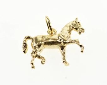 14k 3D Trotting Horse Equestrian Charm/Pendant Gold