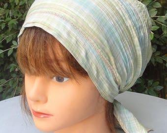Bandana, damn, preformed scarf blue Plaid cotton / green - one size