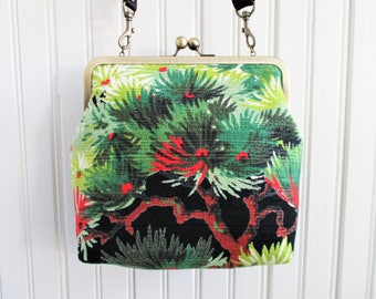 "Green Pine Boughs with Red on Black Ground Vintage Barkcloth Fabric 8"" Antique Brass Kisslock Frame Crossbody Shoulder Bag Purse"
