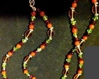 Earth Colors,Multi-Glass Beaded Necklace,Huge Multi-Faceted Stone Focal Point,Double Stran.Vintage Art Glass.Artisan Made, Gift for Women