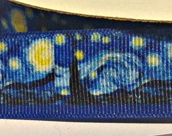 Starry Night by Van Gogh - Grosgrain - 1 Yard 7/8""