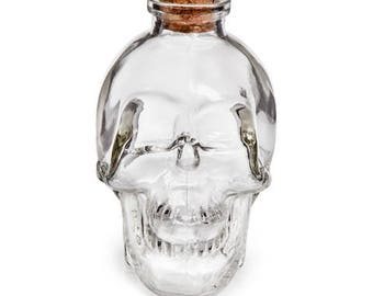 Glass Skull Bottle with Cork: Clear - 150ml - 2.25 x 3.75 inches    3114-096