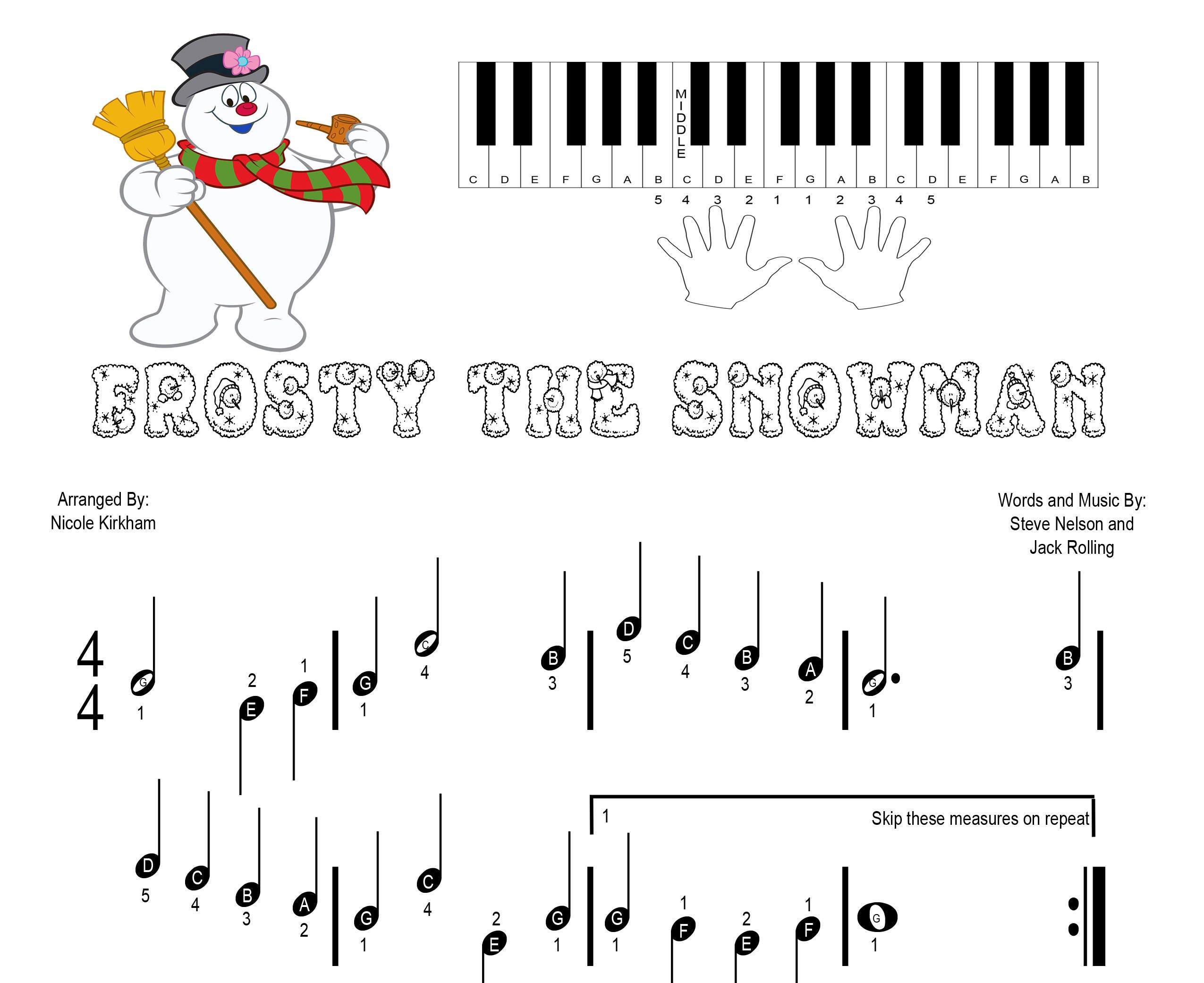 frosty the snowman piano pdf