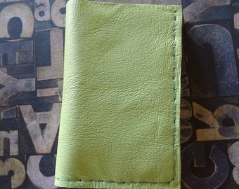 Lime Green Up-Cycled Leather Wallet