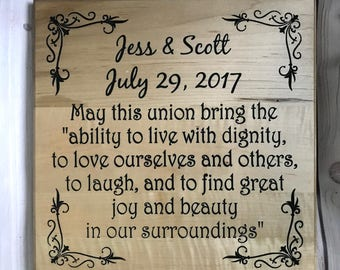 Marriage Anniversary Gifts, Parents Anniversary Gift, Engraved Wedding Gift, Wedding Gift For Friend, Personalized Couples Gift, Wooden Sign