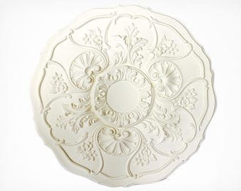 CEILING MEDALLION – Decorative Ceiling Rosette - Architectural Molding – Ceiling Molding - Acanthus Leaves Budding Flowers - Fypon