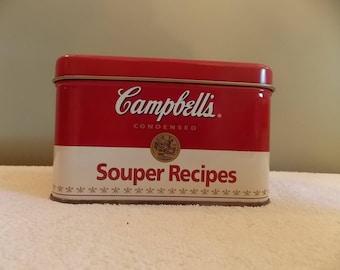 "Campbell's Soup ""Souper Recipes"" tin and recipes 1990"