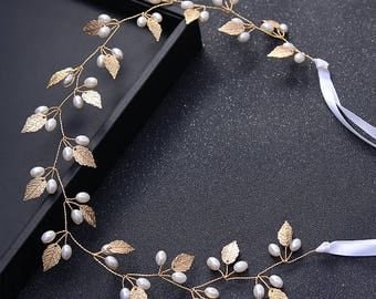 Gold Bridal Headband Bridal hair vine Wedding hair piece Bridal hair vine Crystal hair vine