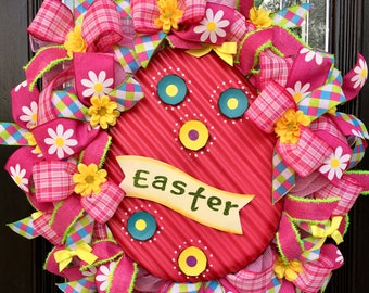 Easter Wreath, Deco Mesh Easter Wreath, Spring Wreath, Easter Egg Wreath