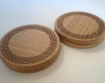 Solid oak coasters - small celtic knot  design