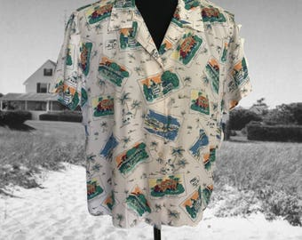 Vintage Liz Claiborne Summer Blouse Rayon Shirt Travel Theme Postcards Tropical Beach Resort Cruise Wear Large Lizwear Florida Palm Trees