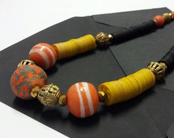 Yellow Assorted Vinyl Brass Pendants Bead Necklace, Recycled Glass Krobo Beads Women's Necklace