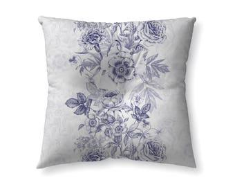 Navy blue floral- floor pillow