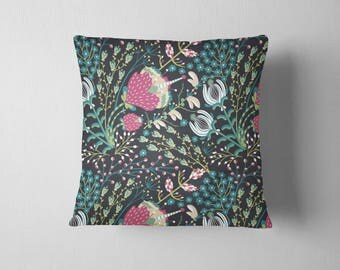 Teal Forest Floral throw pillow