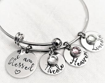 Personalized Mother Bracelet, Hand Stamped Jewelry, Mom Jewelry, Gift for Mom, Mother Bangle, Gift for Her, Grandma Gift, Grandma Jewelry