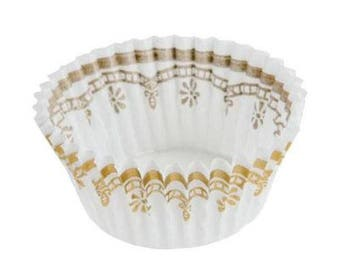 White and Gold Mini Baking Cups - 100 Count