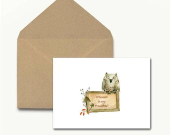 Whooo's In My Thoughts? Note Cards
