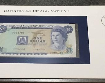 Banknotes Of All Nations Bermuda 1982   1 Dollar P 28b  GEM UNC Queen Elizabeth   Franklin Mint Paper Money Souvenir Scrapbook Scrapbooking