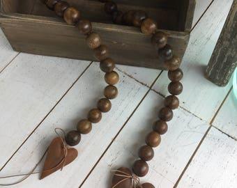 Wood Decor Bead Garland with Rusty Tin Puffy Hearts, Home Decor, Wood Bead Vase Garland, Natural Garland, Shabby Chic, Farmhouse Decor