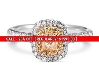 20% SALE Diamond Engagement Ring, Double Halo Diamond Ring, 18K white Gold Ring With Diamonds, Wedding Diamond Ring
