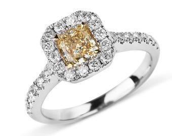 Radiant Cut Yellow Diamond Halo 18K White Gold Engagement Ring/ Half Eternity Natural Diamond Ring/ Handcrafted Custom Jewelry Gift for Her