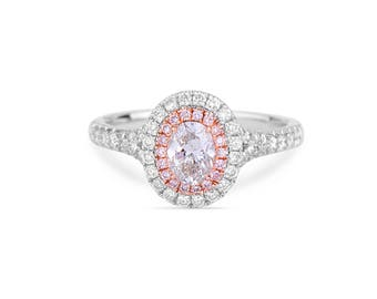 Diamond oval Ring, Pink Diamond Engagement Ring, Unique Diamond Ring, Anniversary Present, Gold Ring, Cushion Diamond Ring, Promise ring,
