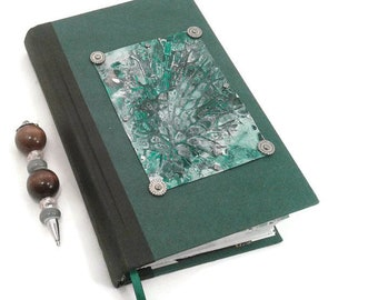 Green Metal Journal, writing Journal, Bookmark, lined pages, Diary, Notebook, gift for writers, writing journal, gift for men, gift for teen