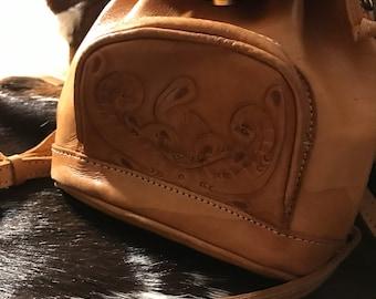 Vintage tooled leather backpack/purse