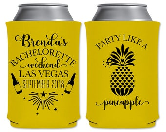 Collapsible Bachelorette Party Favors Custom Beer Can Coolers Beverage Insulators | Party Like A Pineapple | Beer Holders | READ DESCRIPTION