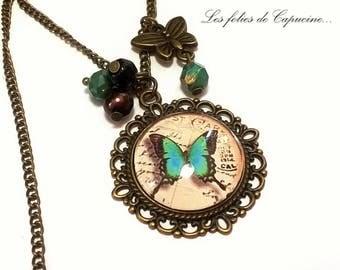 Large CABOCHON •PAPILLON • VINTAGE necklace