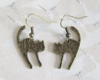 Cat in antique bronze jewelry gift for her, cat earrings cat earrings