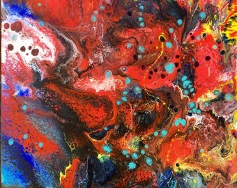Lava Flow - Original mixed media abstract painting 24x30 by artist Joy Festa