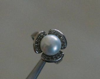 ON SALE Elegant Cultured Pearl, CZ Silver Ring