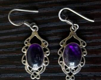 ON SALE Fine AMETHYST Silver Earrings