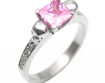 Skull Ring Sterling Silver 1.25ct Princess Cut Pink Sapphire Diamond-Unique Hand Crafted (263)