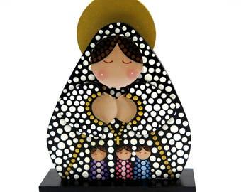 Virgen de Fatima - Pequeña pieza pintada a mano en MDF en puntillismo - Recuerdos Primera Comunión, Bautizos y más.