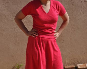 Vintage 1960s Fritzi Hot Pink Terrycloth Skirt and Shirt Set